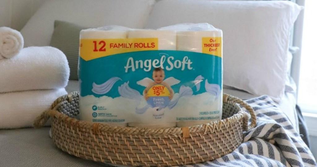 pack of toilet paper in basket