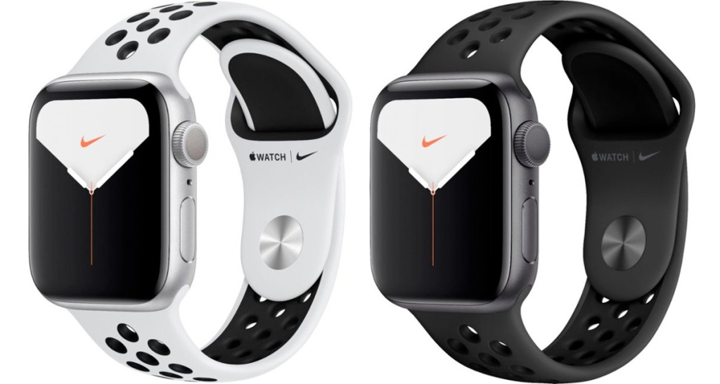 two apple watch nike editions with white and black rubber wrist bands