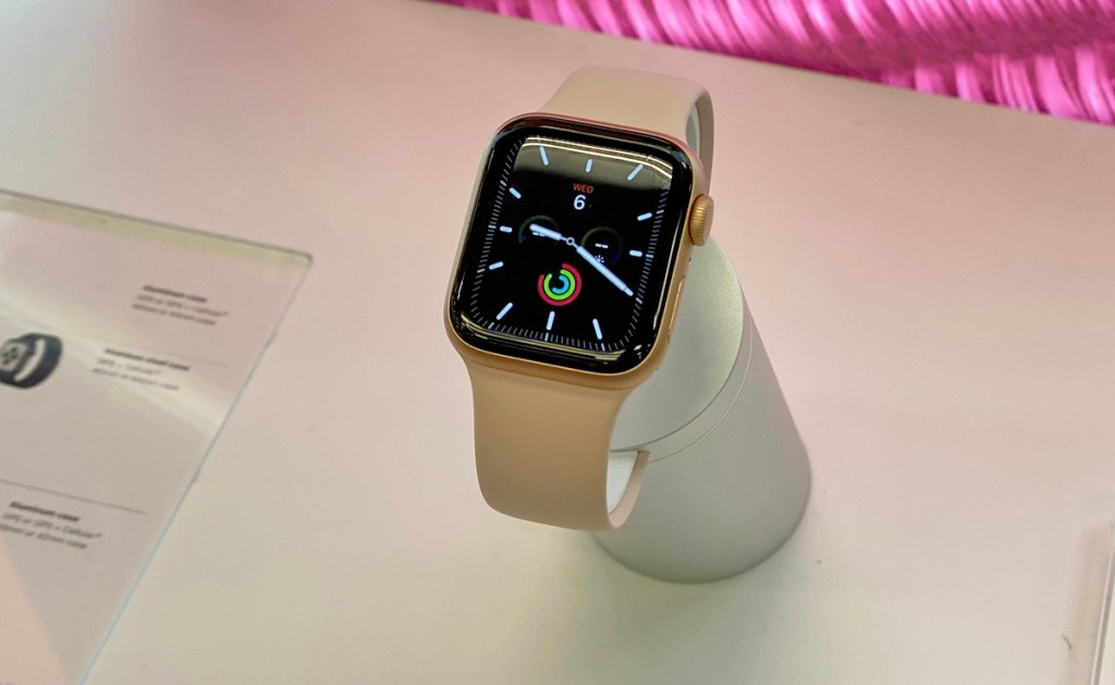 pink apple watch on display at store