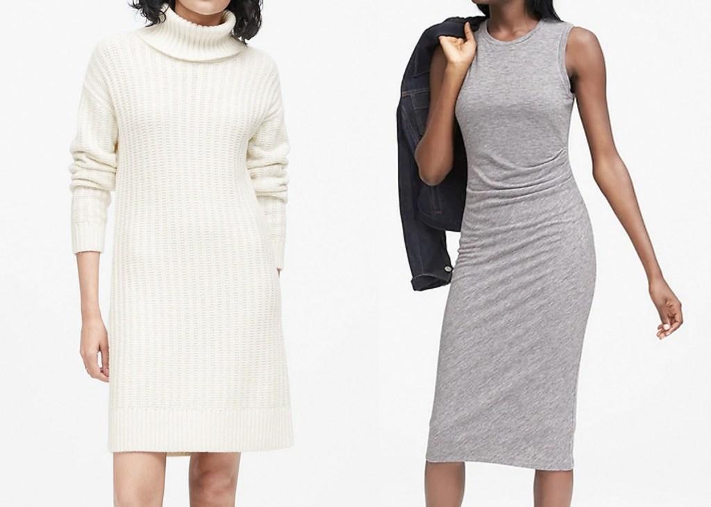 two women modeling dresses, one white sweat dress and one sleeveless light grey