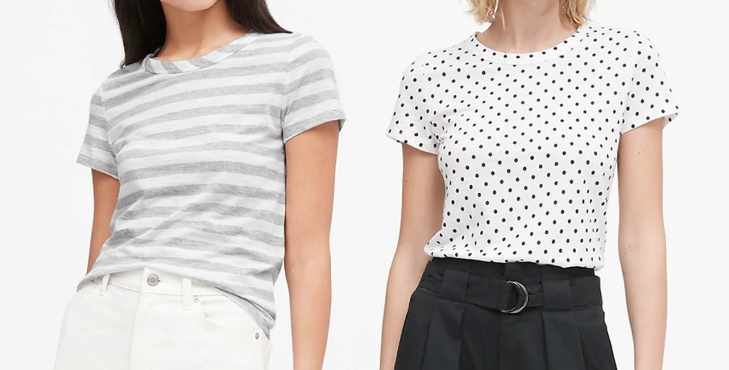 two women modeling t-shirts, one light grey and white striped and one white with small navy polka dots