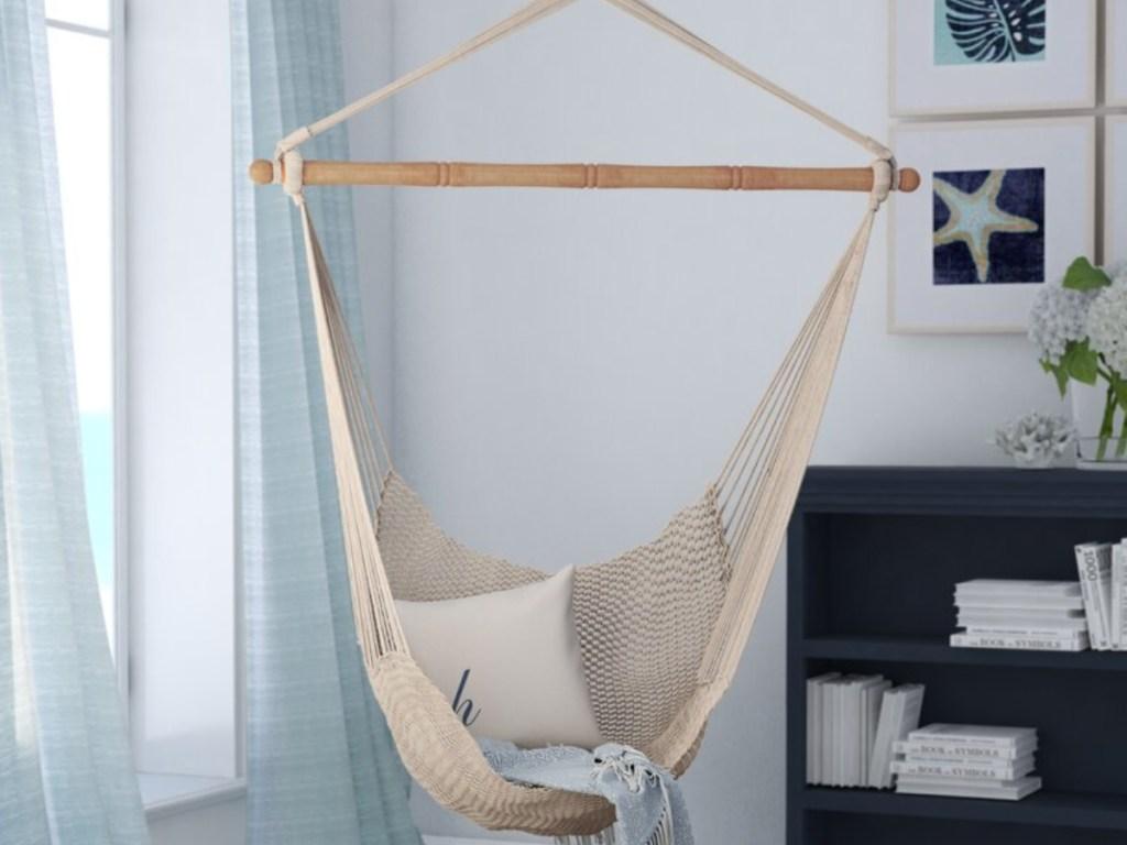 beige hammock in living room
