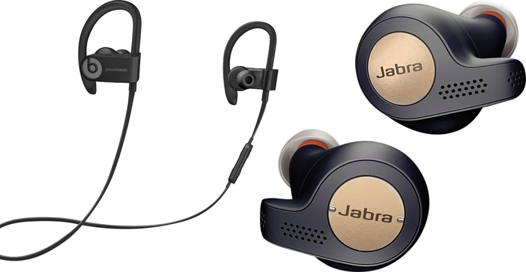 pair of black beat wireless headphones and pair of black and copper colored jabra brand wireless earphones