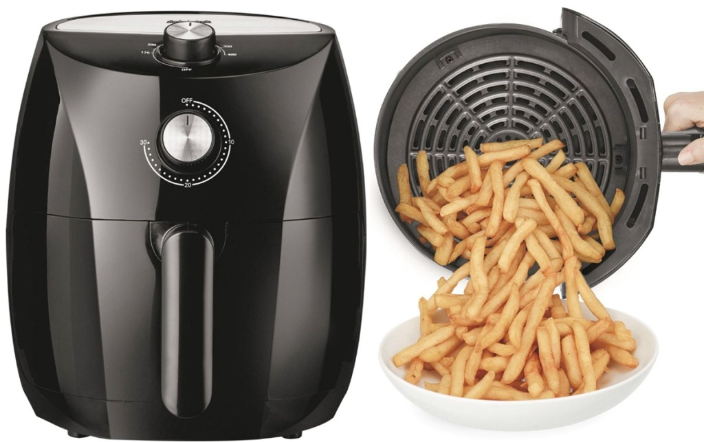 black air fryer and photo of air fryer basket with fries being emptied out