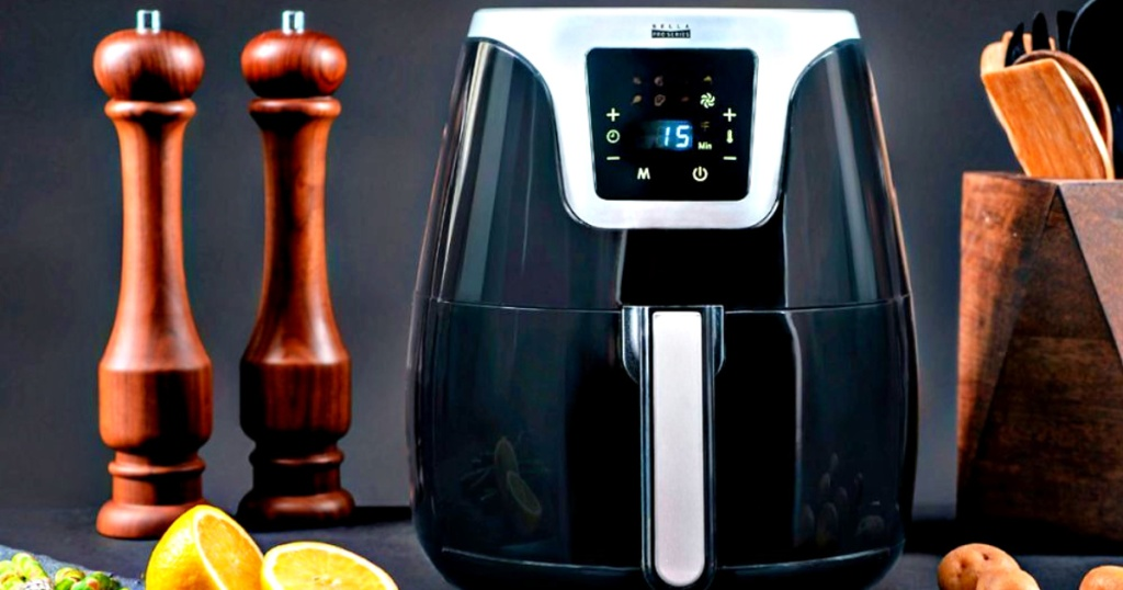 Bella Pro Series 4.5-Quart Air Fryer on counter with kitchen items