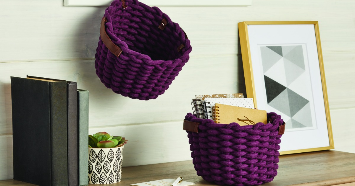 Red storage baskets on display in room