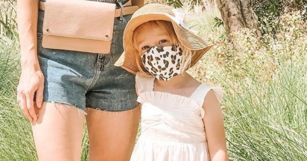 petunia pickle bottom face mask on little girl