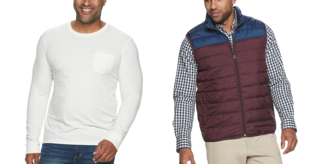 mens sonoma tee and puffer vest
