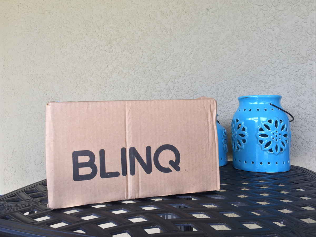 BLINQ box on table outside