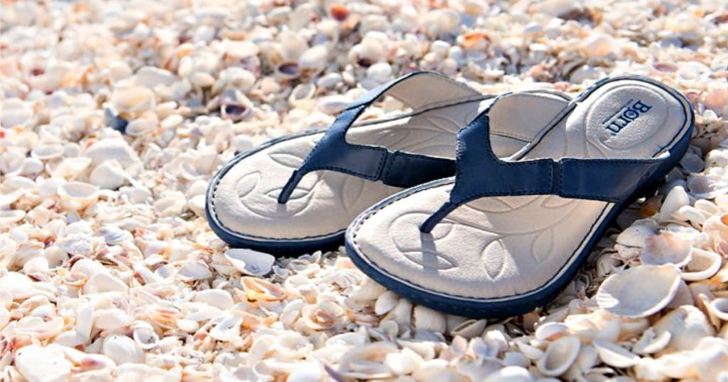 Born Navy Amelie Leather Sandal on seashells