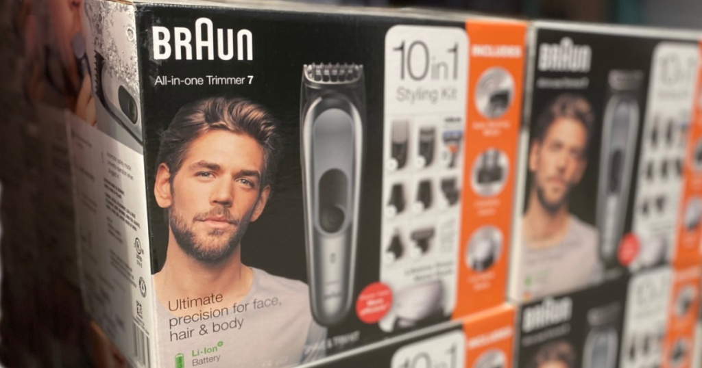 Braun all-in-one trimmer boxes stacked in store