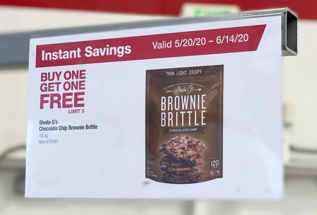 sale sign in costco for buy one, get one free sale on brownie brittle