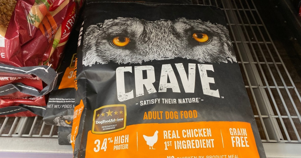 Crave chicken dry dog food on store shelf