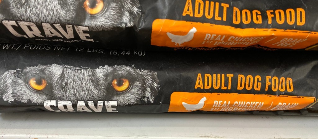 crave adult dog food laying on store shelf