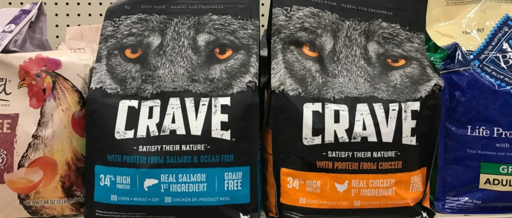 Crave dog food bags on store shelf