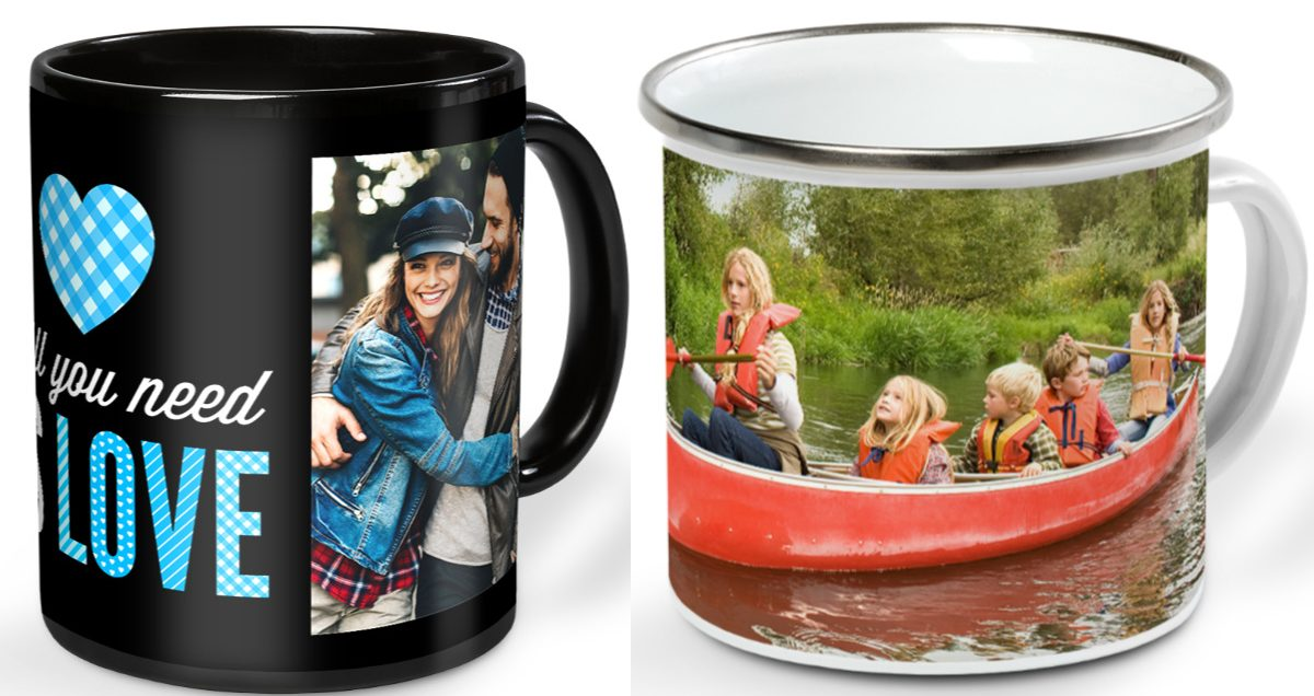 """black mug with photo of couple printed on front and """"All You Need is Love"""" in blue and white font, and white and silver campfire mug with photo of woman and children in canoe at lake printed around it"""