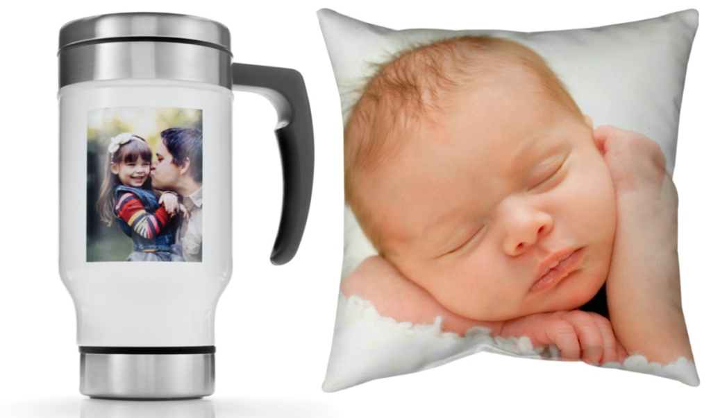 white travel mug with handle and photo of woman and girl printed on front, and pillow with photo of infant printed on front