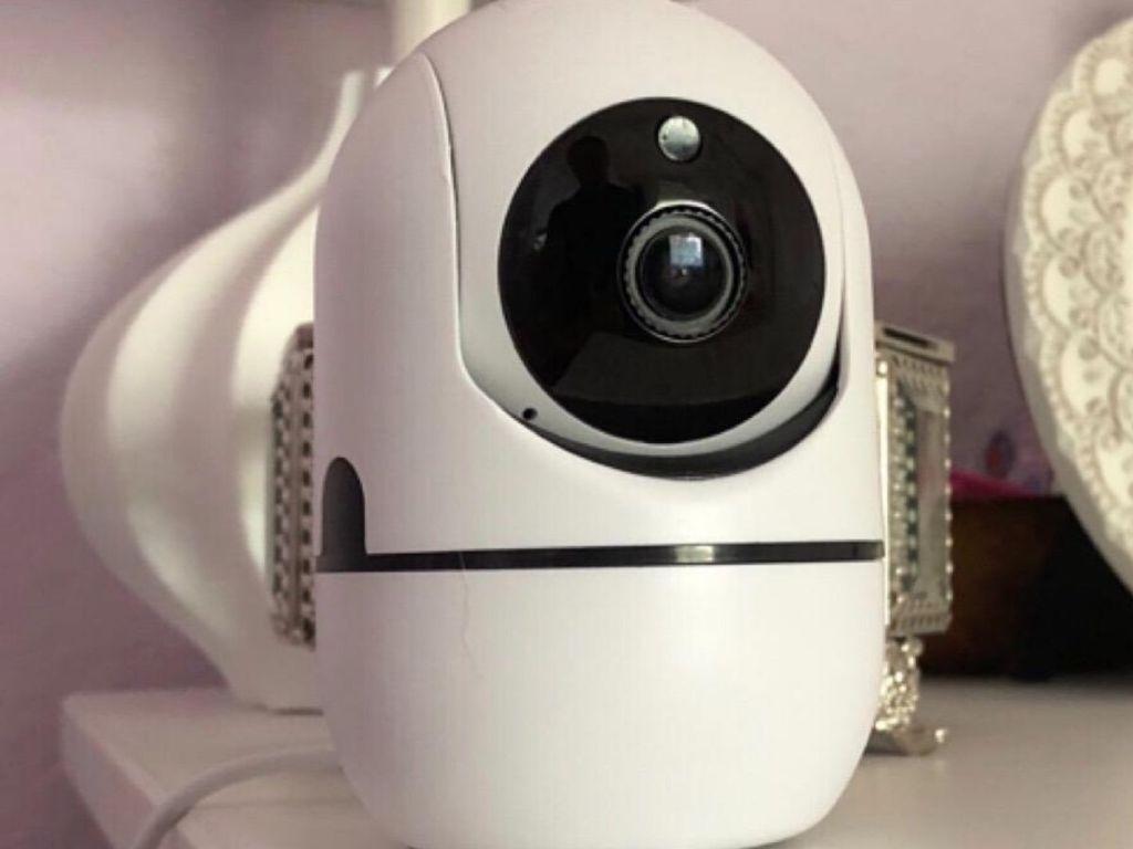 video baby monitor on dresser