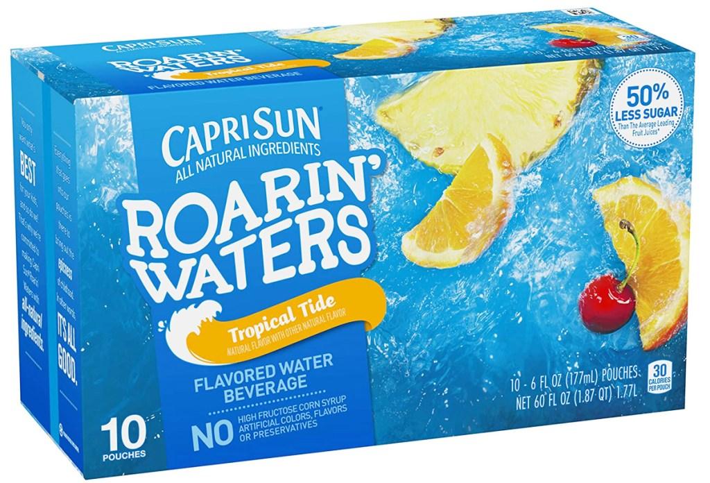 blue box of Capri-Sun Roarin Waters Tropical Tide juice drinks