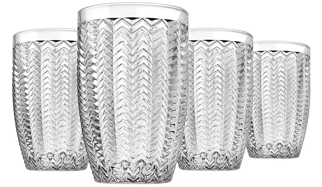 set of four highball glasses with chevron design