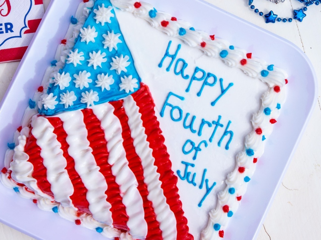 Carvel Happy 4th of July red, white, and blue ice cream cake