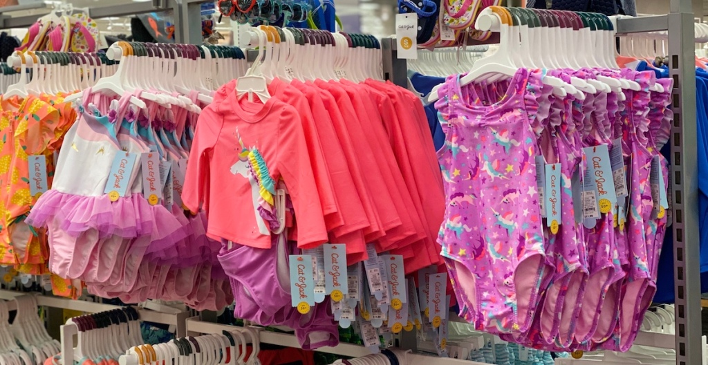 display of girls swimsuits at Target