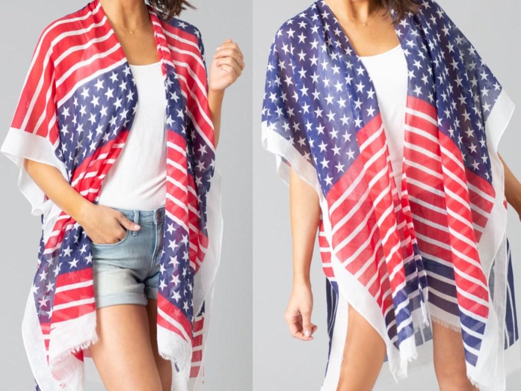 woman in USA flag designed kimonos
