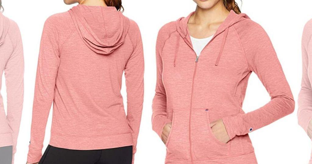 woman wearing full zip hoodie