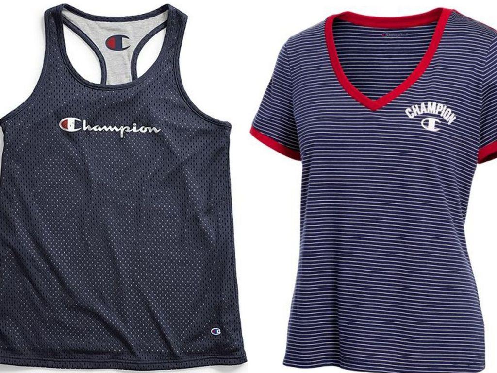 champion womens mesh tank top and short sleeve v-neck t-shirt