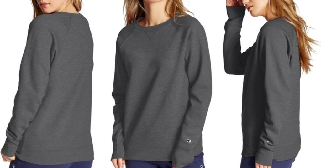 woman wearing sweatshirt with back,front and side view