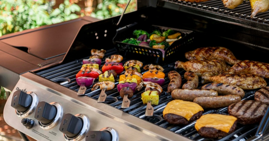 Char-Broil Performance 6-Burner Gas Grill with food on it