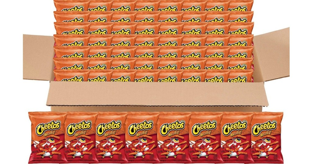 sixty-four snack size bags of cheetos in a box