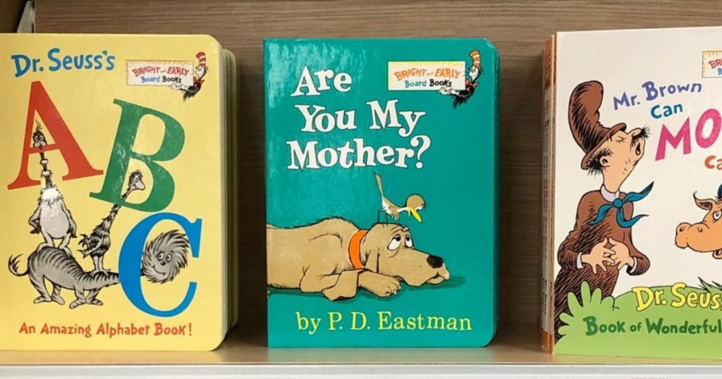 3 dr. suess board books lined up on store shelf