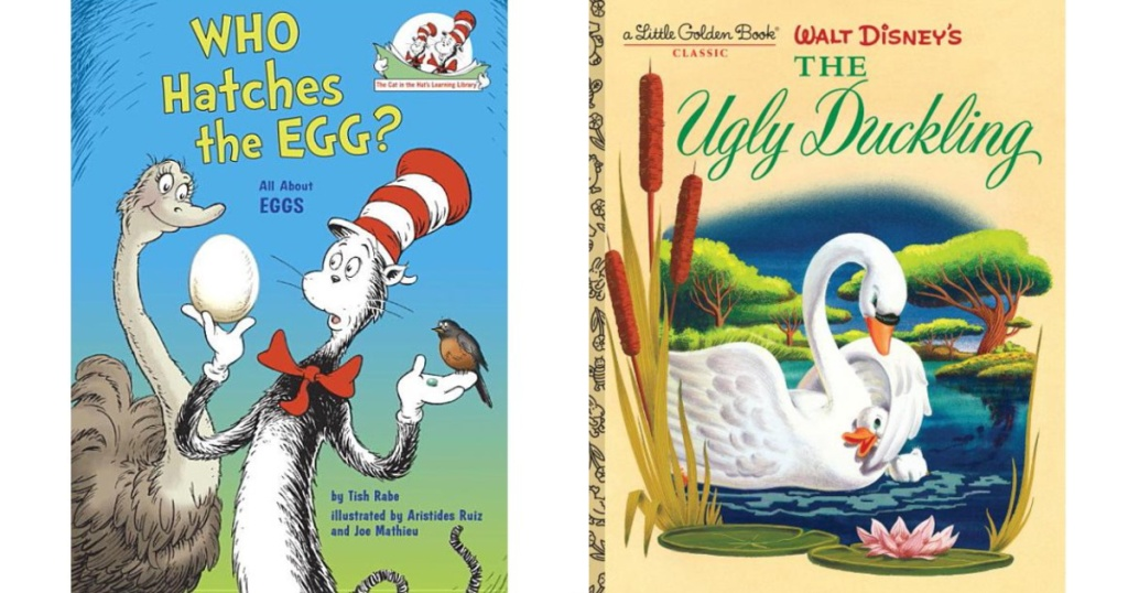 Who Hatches The Egg Book and The Ugly Duckling Book sitting next to each other