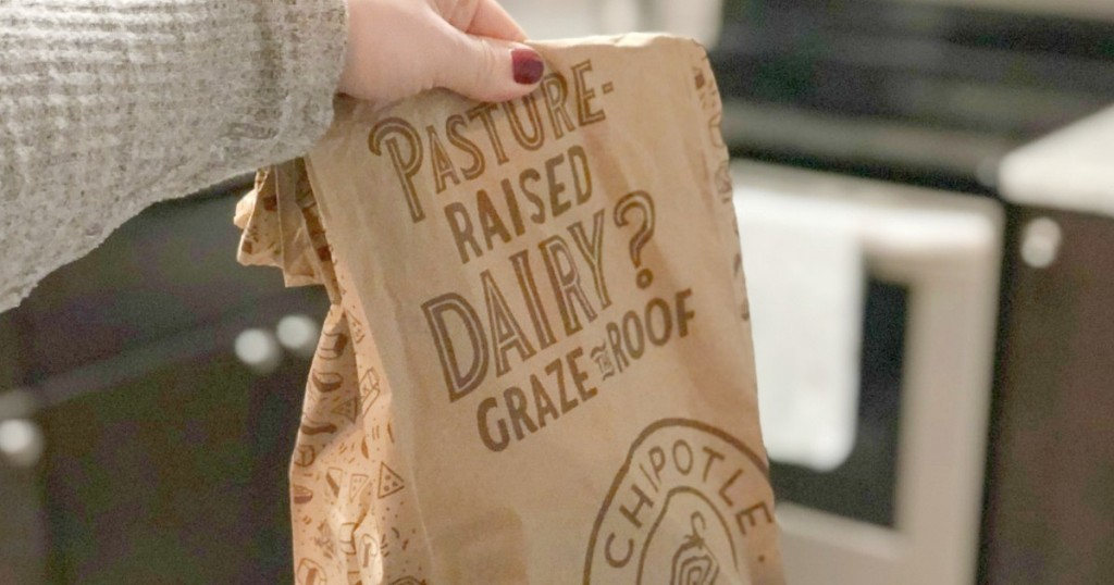 holding bag from Chipotle