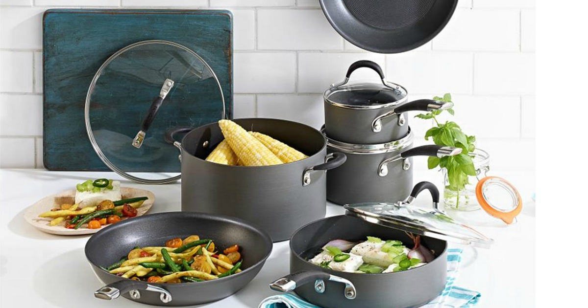 staged set of cookware on a counter top