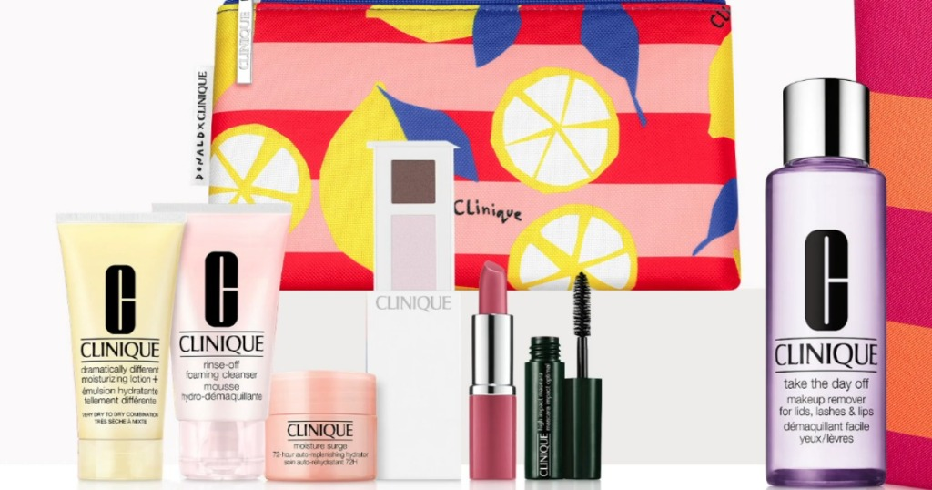 Clinique Summer Kit cosmetics with bag