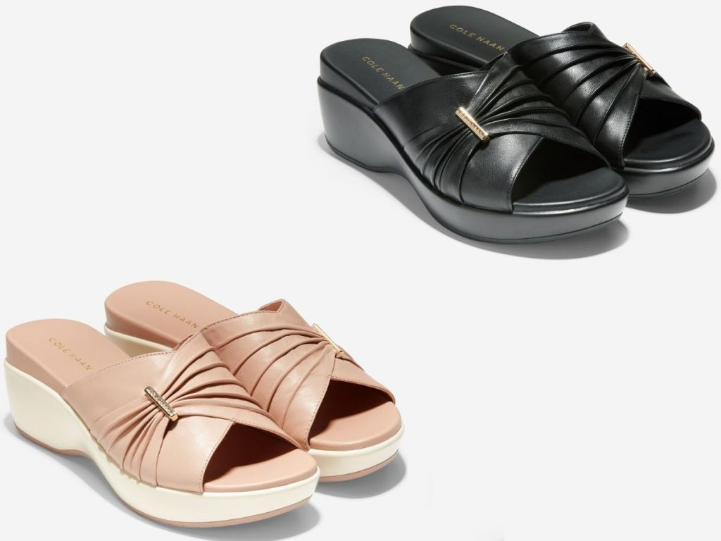 two pairs of women's mule sandals