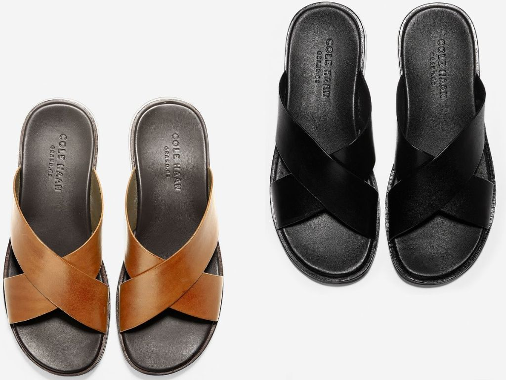 mens leather criss cross sandals
