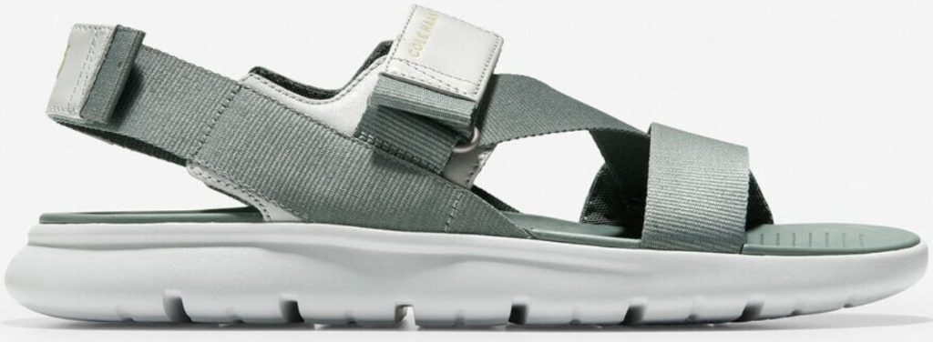 Gray strappy sandal with white sole
