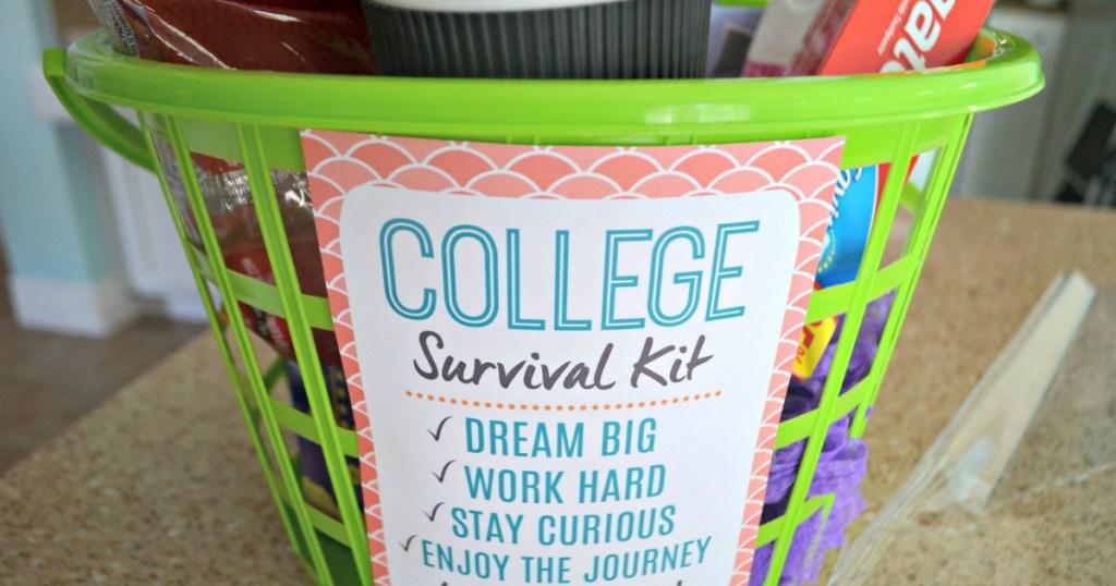 College survival kit inside hamper