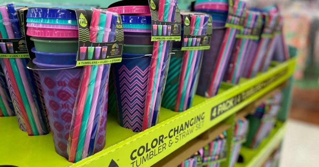 Color Changing Tumbler Set on display at Walmart