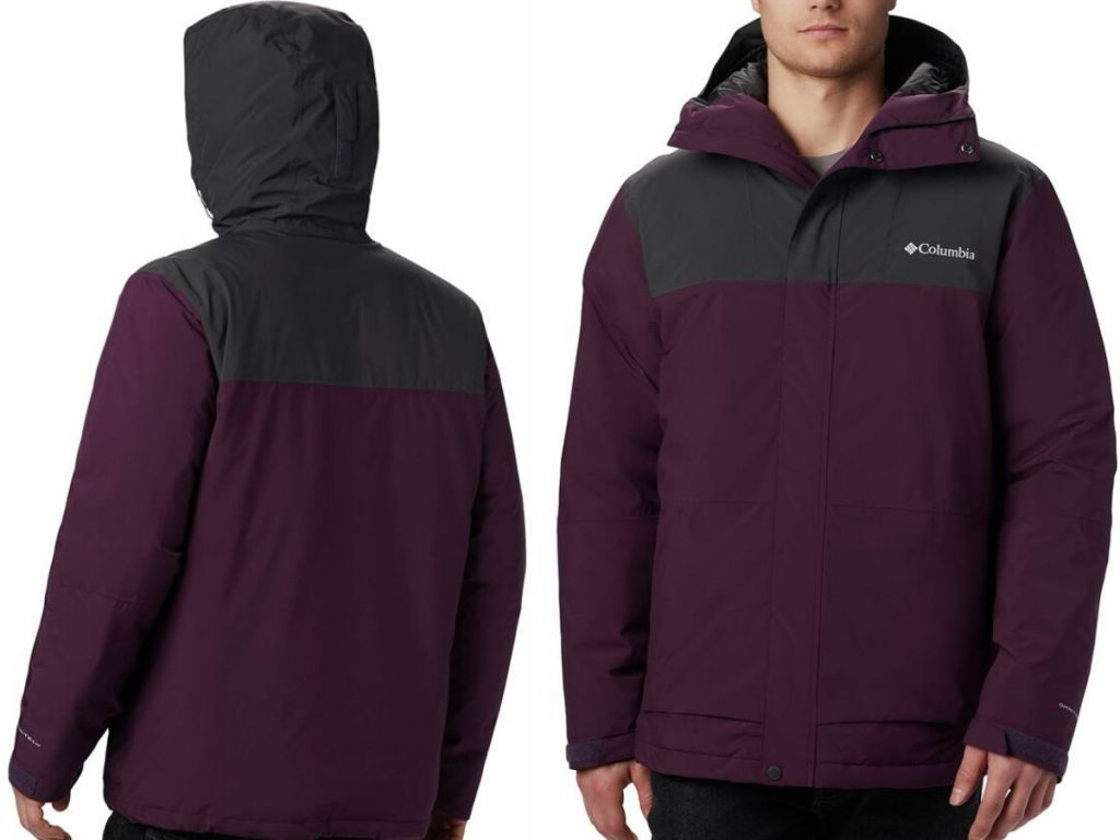 back and front view of men's hooded winter jacket