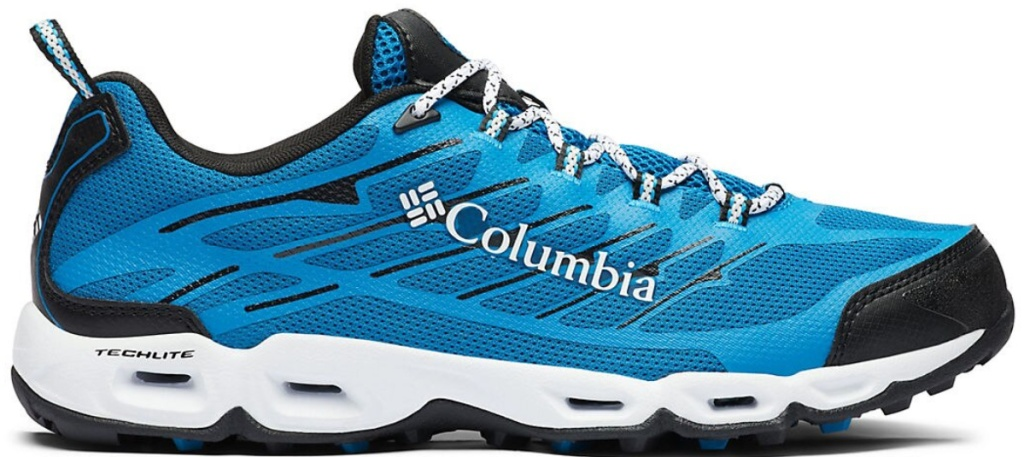 blue and white and black shoes with Columbia on side