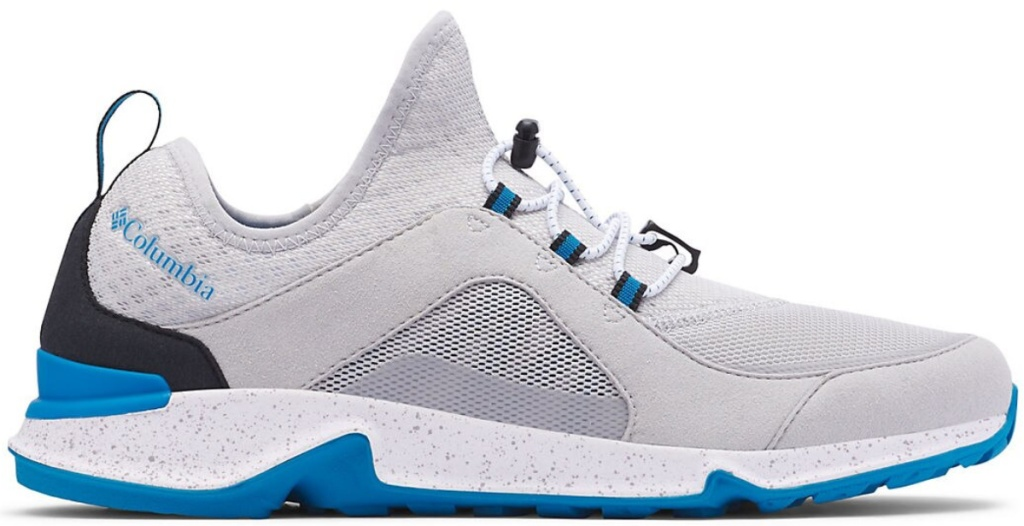 whie blue and black shoes with Columbia on upper back side