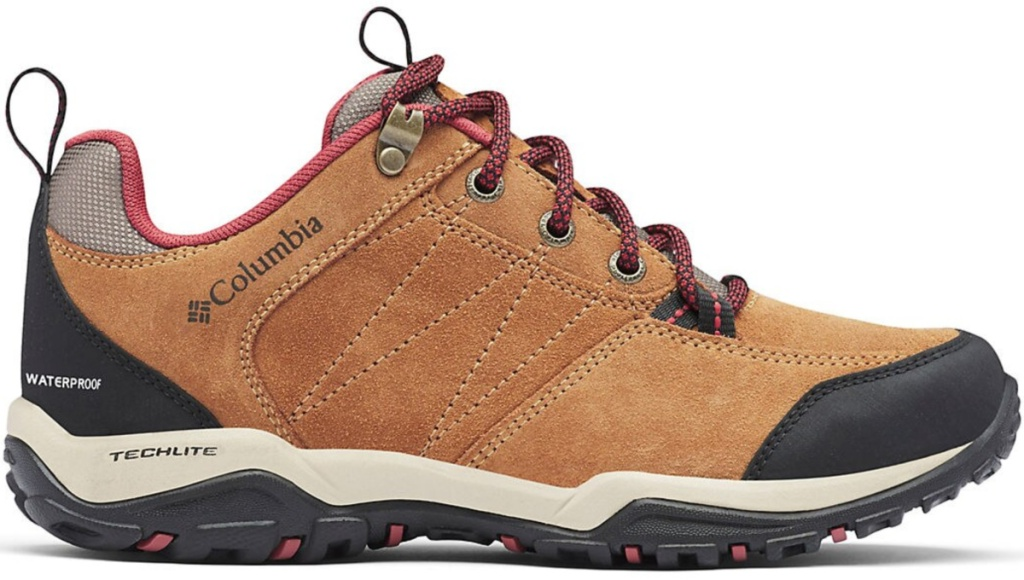 brown and red and blue Columbia hiking shoes/boots