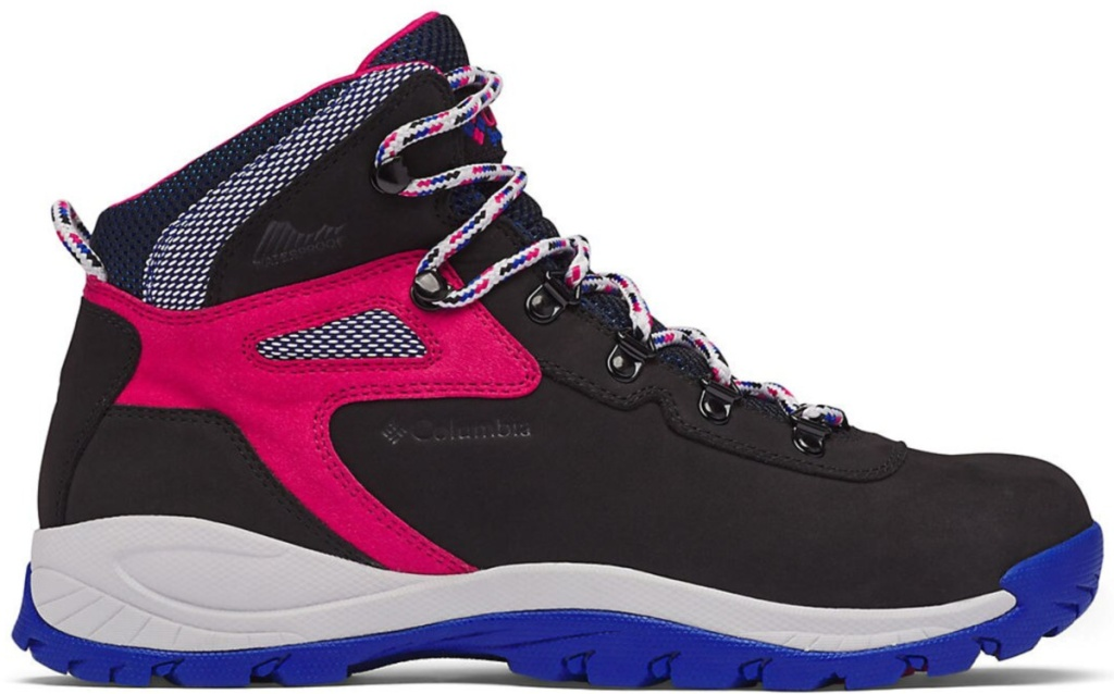 blue pink and black Columbia hiking boots