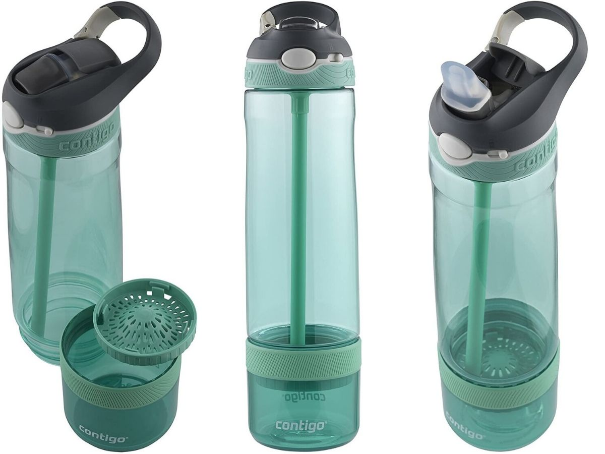 water bottle with infuser on bottom