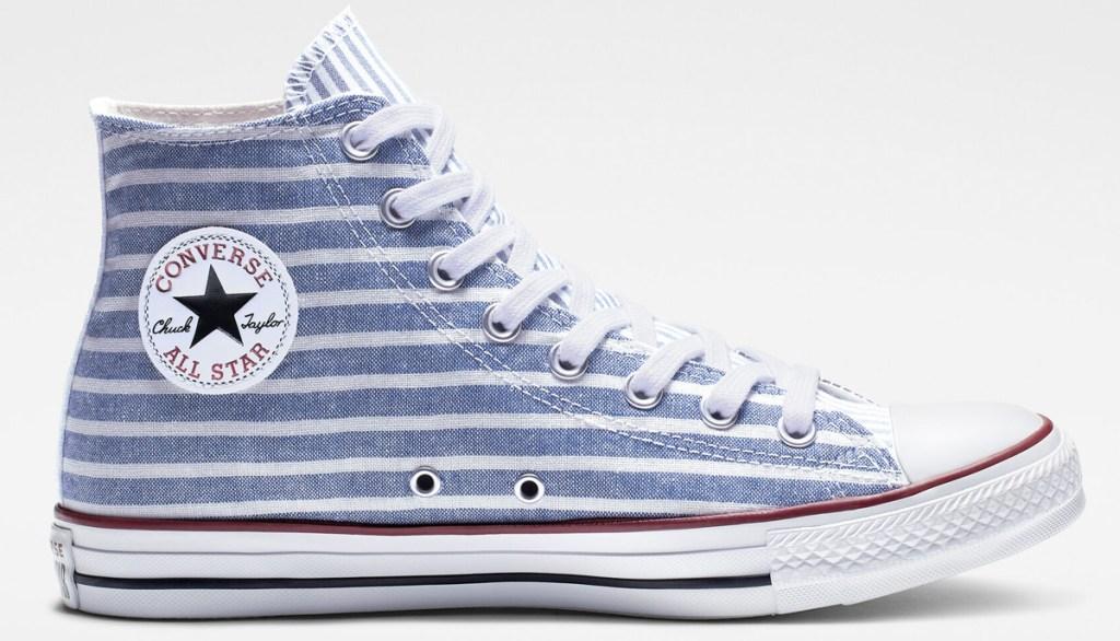 blue and white horizontal striped hi-top converse shoe