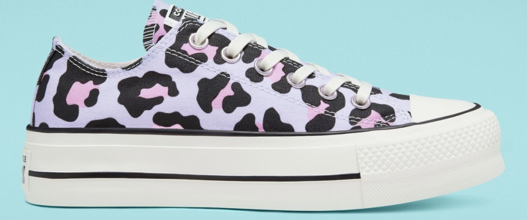 light purple, pink, and black converse leopard print sneaker with platform sole